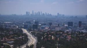 LA Los Angeles downtown aerial view