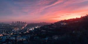 Los Angeles LA panorama backlit